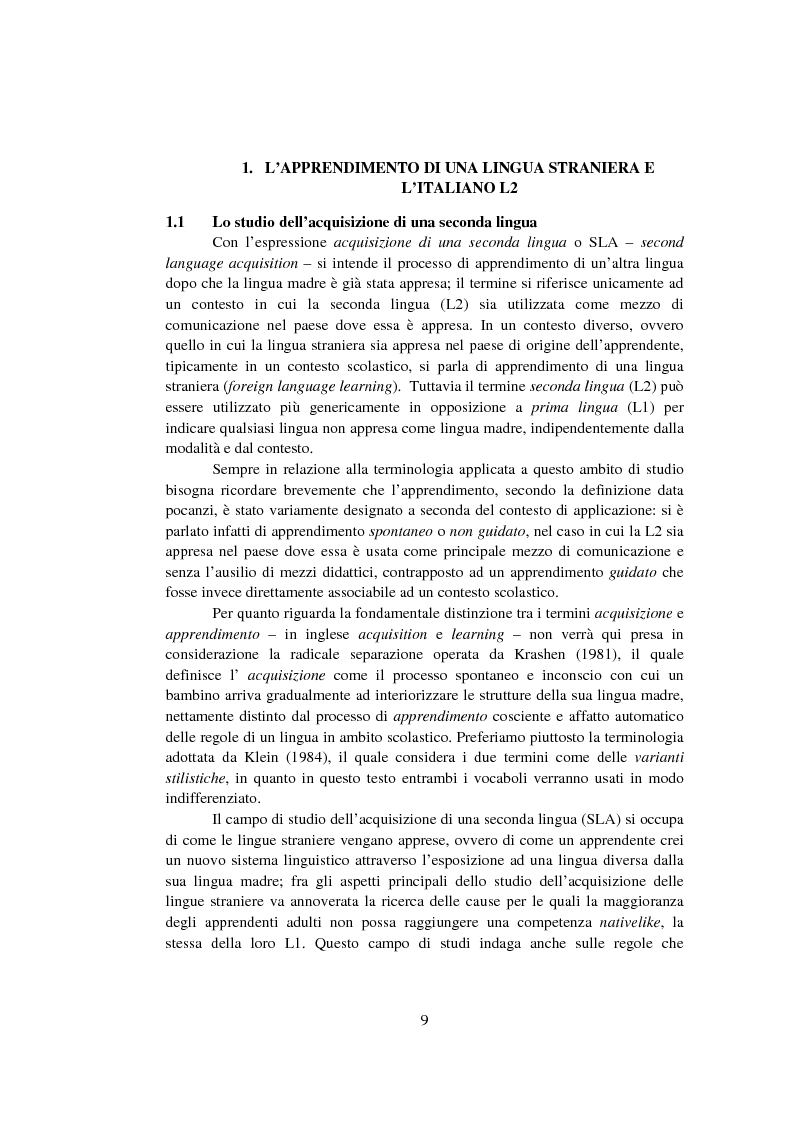 Anteprima della tesi: Strategie di acquisizione nell'italiano dei cinesi, Pagina 4