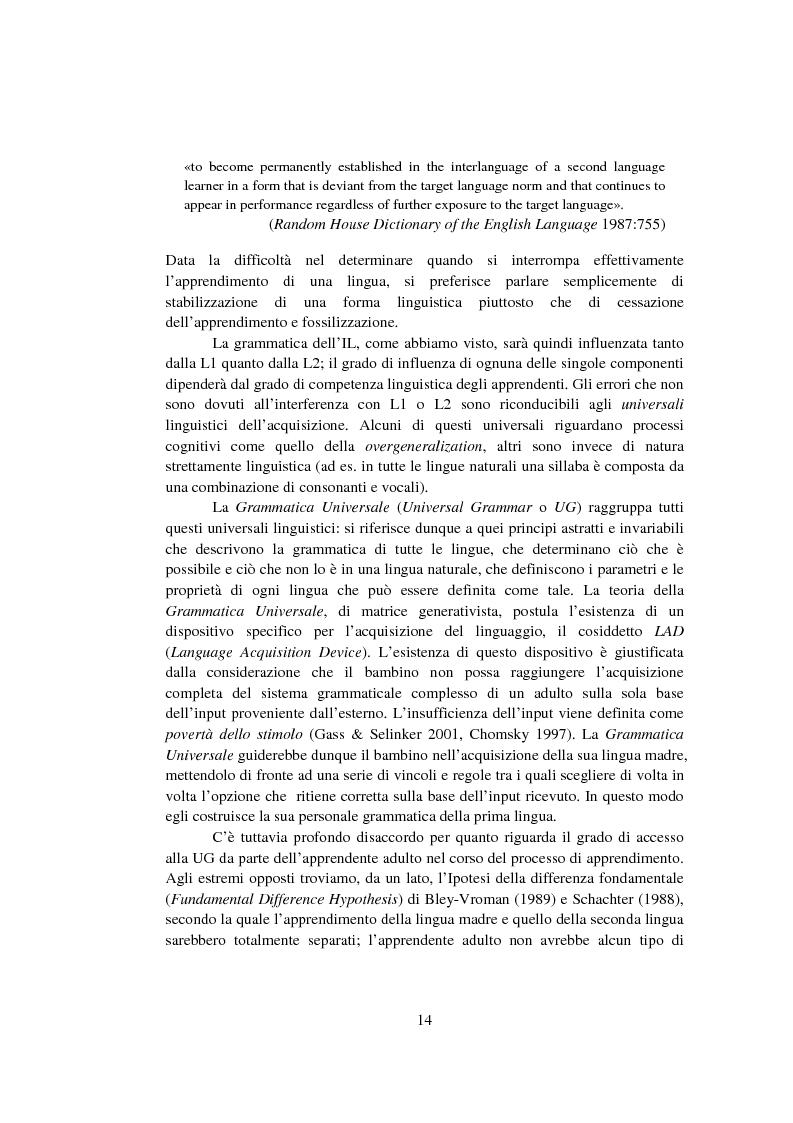 Anteprima della tesi: Strategie di acquisizione nell'italiano dei cinesi, Pagina 9