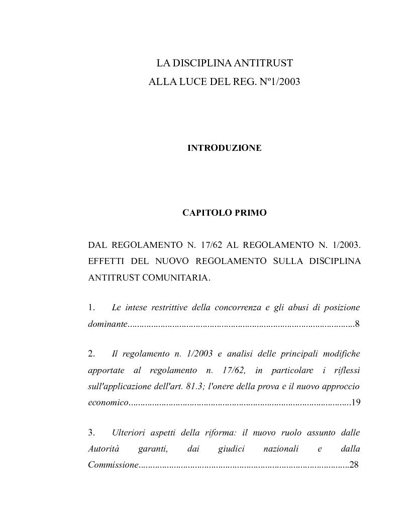Indice della tesi: La disciplina antitrust alla luce del regolamento n. 1/2003, Pagina 1