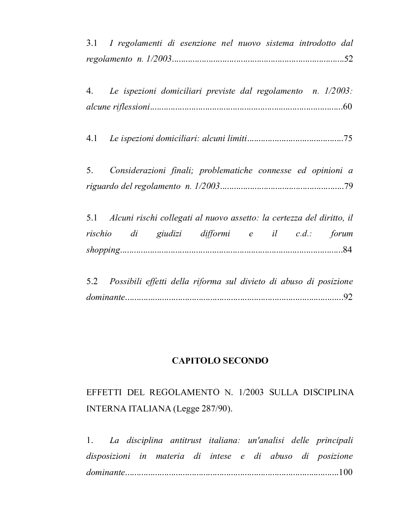 Indice della tesi: La disciplina antitrust alla luce del regolamento n. 1/2003, Pagina 2