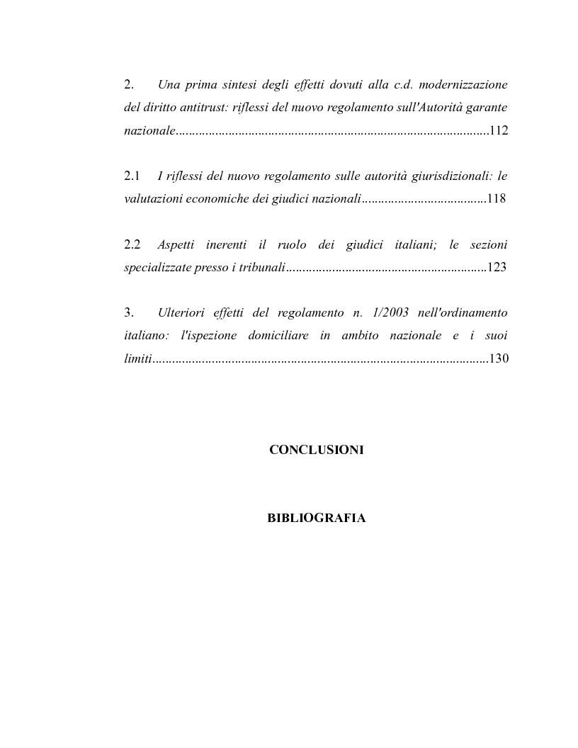 Indice della tesi: La disciplina antitrust alla luce del regolamento n. 1/2003, Pagina 3