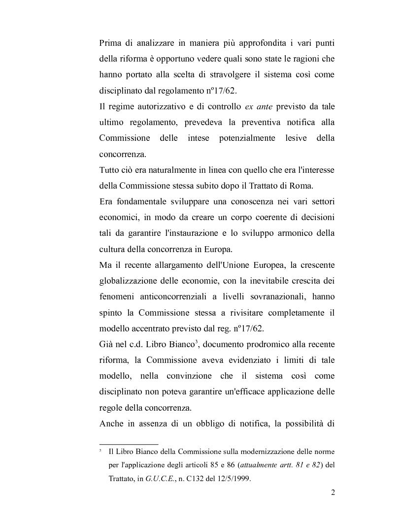 Anteprima della tesi: La disciplina antitrust alla luce del regolamento n. 1/2003, Pagina 2