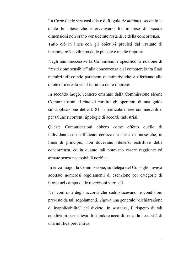 Anteprima della tesi: La disciplina antitrust alla luce del regolamento n. 1/2003, Pagina 4