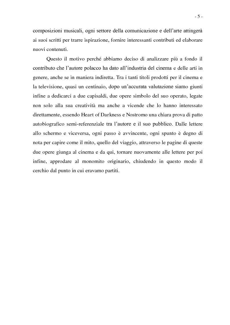 Anteprima della tesi: Joseph Conrad e il Mito del Viaggio. Nostromo e Heart of Darkness tra letteratura e cinema, Pagina 5