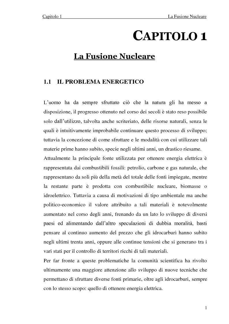 Anteprima della tesi: Analisi elettromeccanica di dispositivi per la fusione termonucleare controllata, Pagina 1