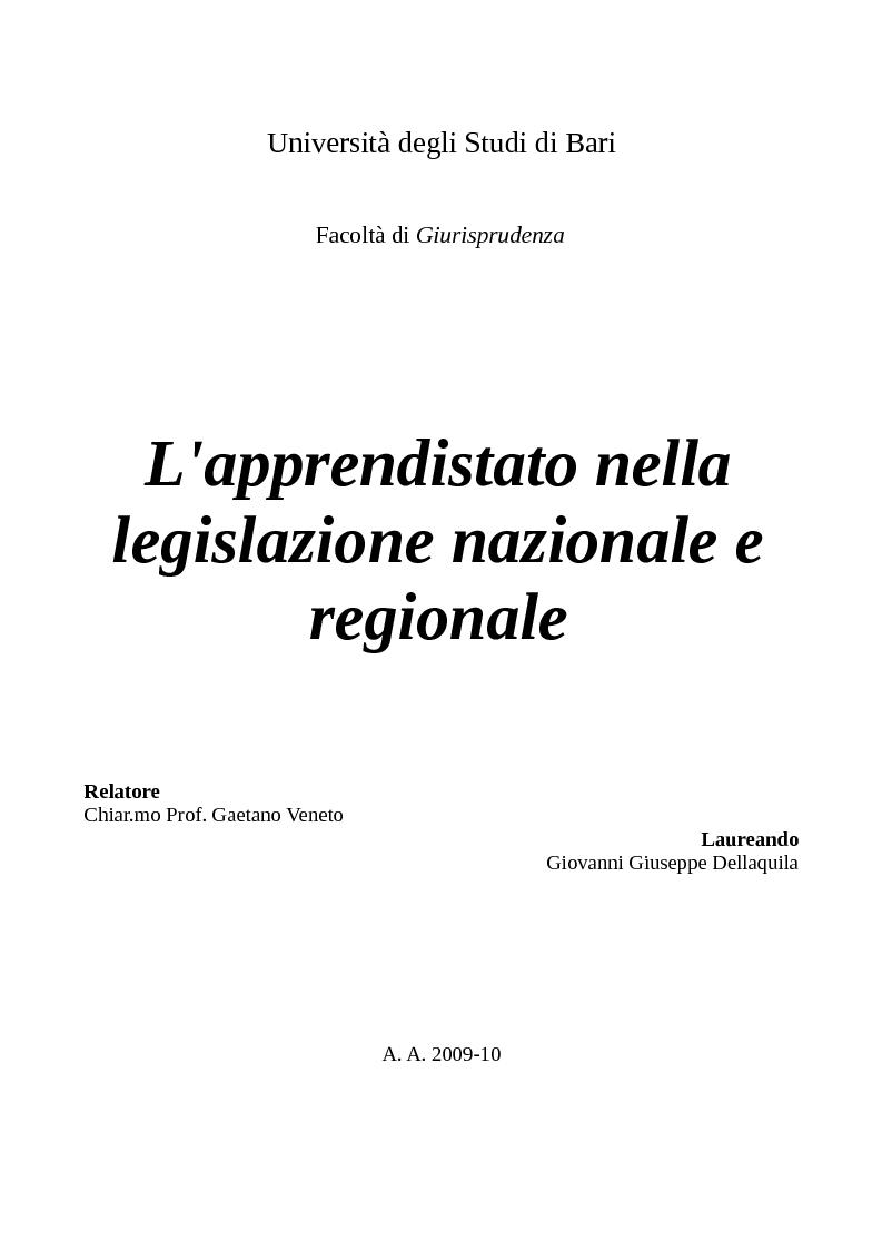 Anteprima della tesi: L'apprendistato nella legislazione nazionale e regionale, Pagina 1