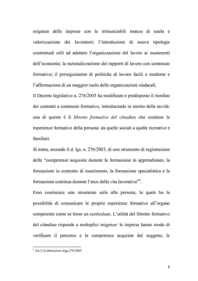 Anteprima della tesi: L'apprendistato nella legislazione nazionale e regionale, Pagina 7
