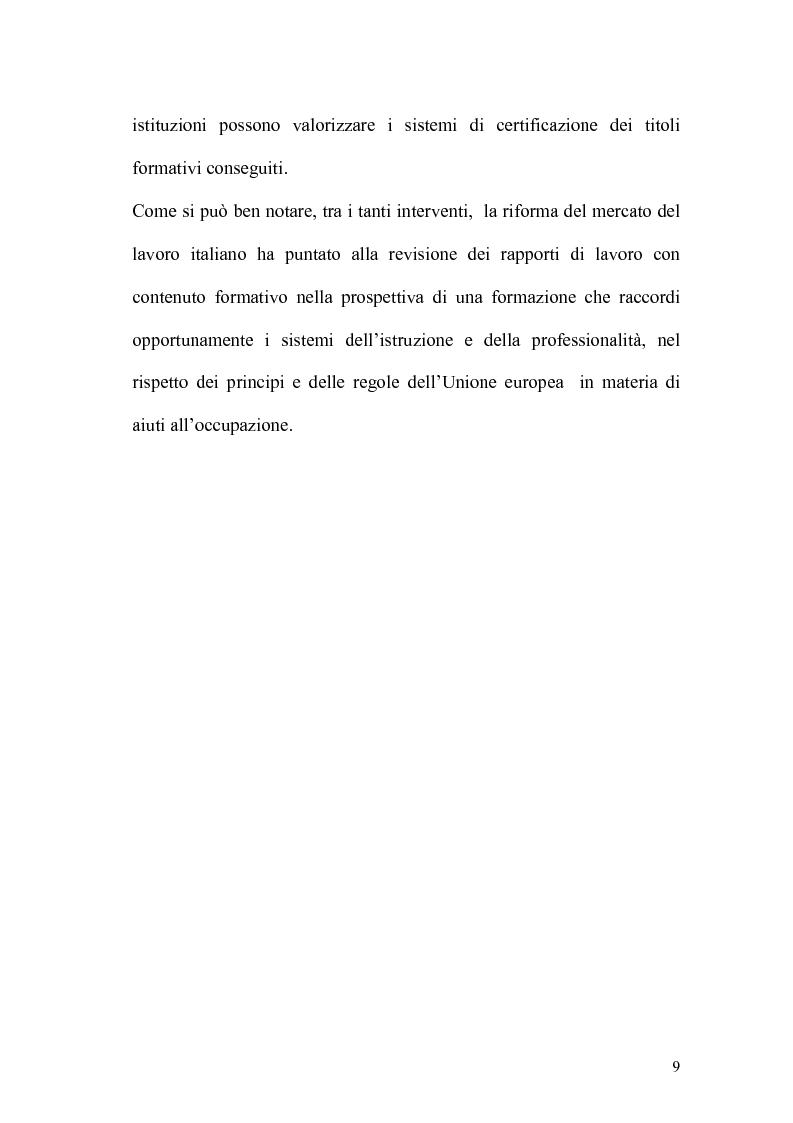 Anteprima della tesi: L'apprendistato nella legislazione nazionale e regionale, Pagina 8