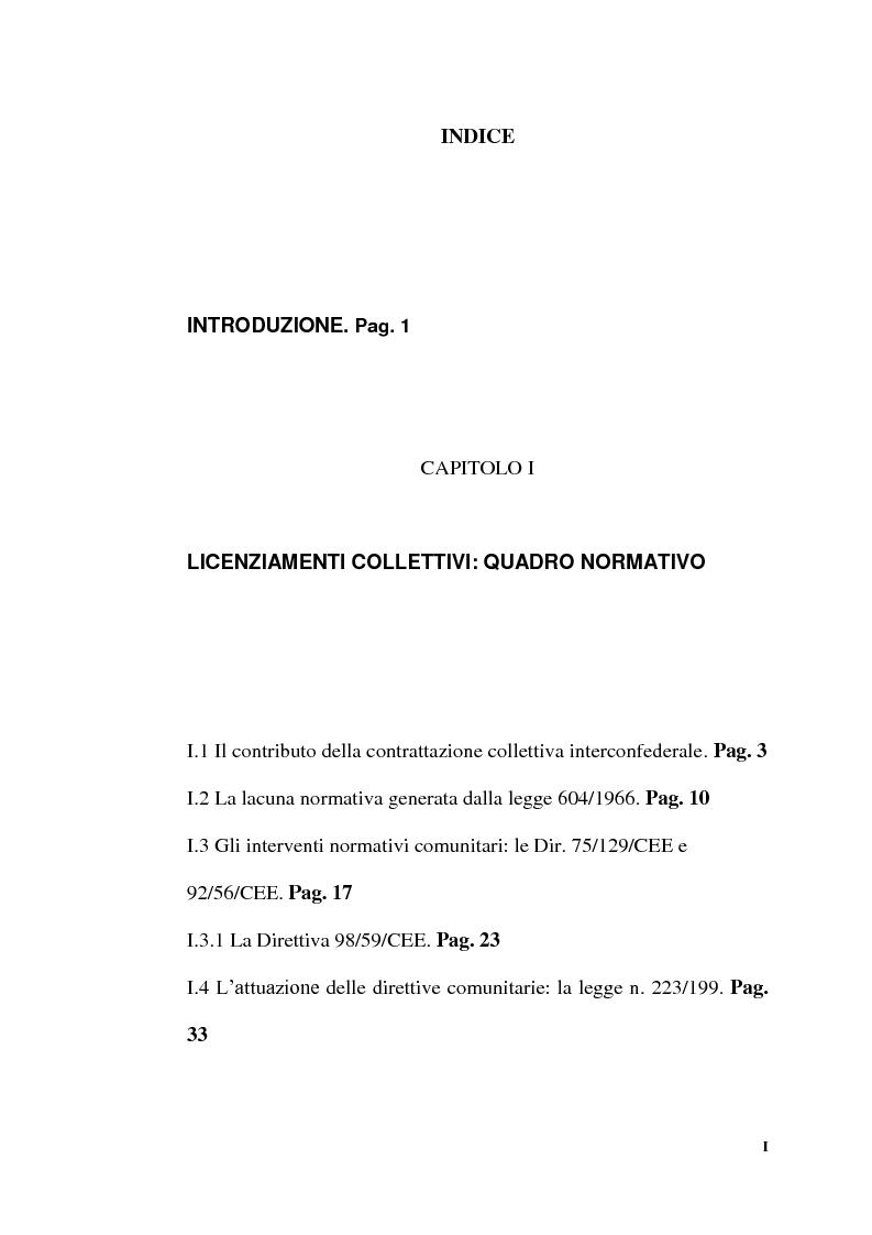 Indice della tesi: Licenziamenti collettivi per riduzione di personale, Pagina 1