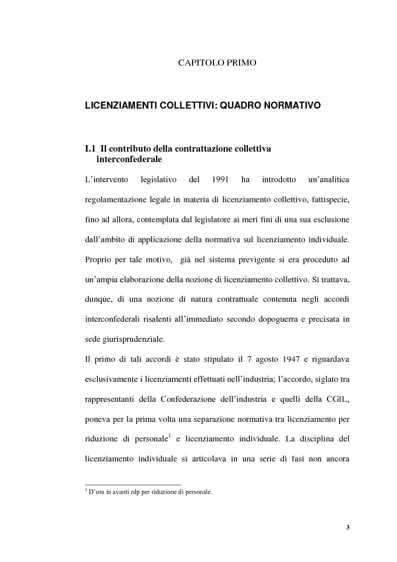 Anteprima della tesi: Licenziamenti collettivi per riduzione di personale, Pagina 1