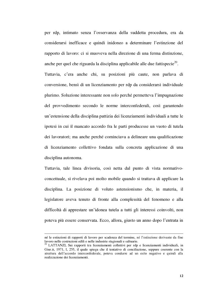 Anteprima della tesi: Licenziamenti collettivi per riduzione di personale, Pagina 10