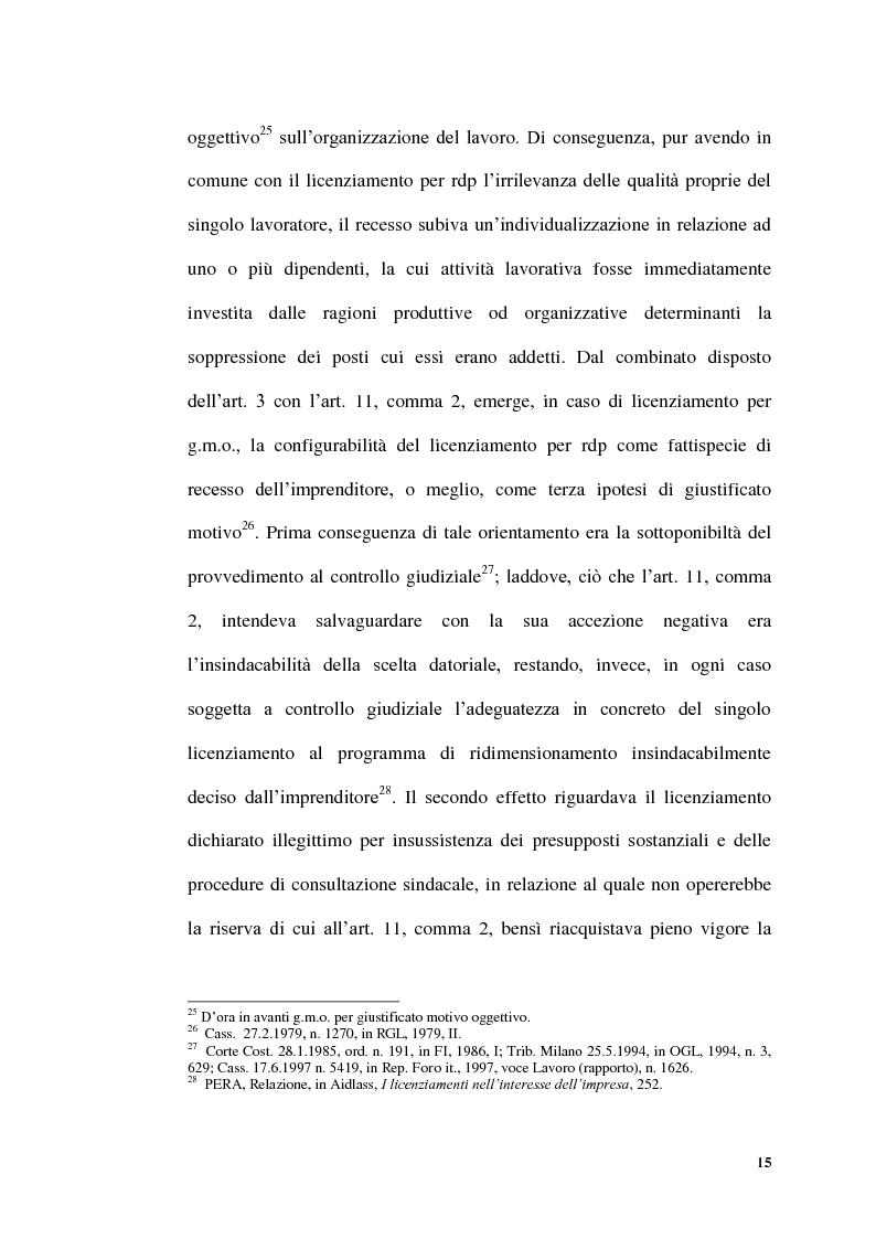 Anteprima della tesi: Licenziamenti collettivi per riduzione di personale, Pagina 13