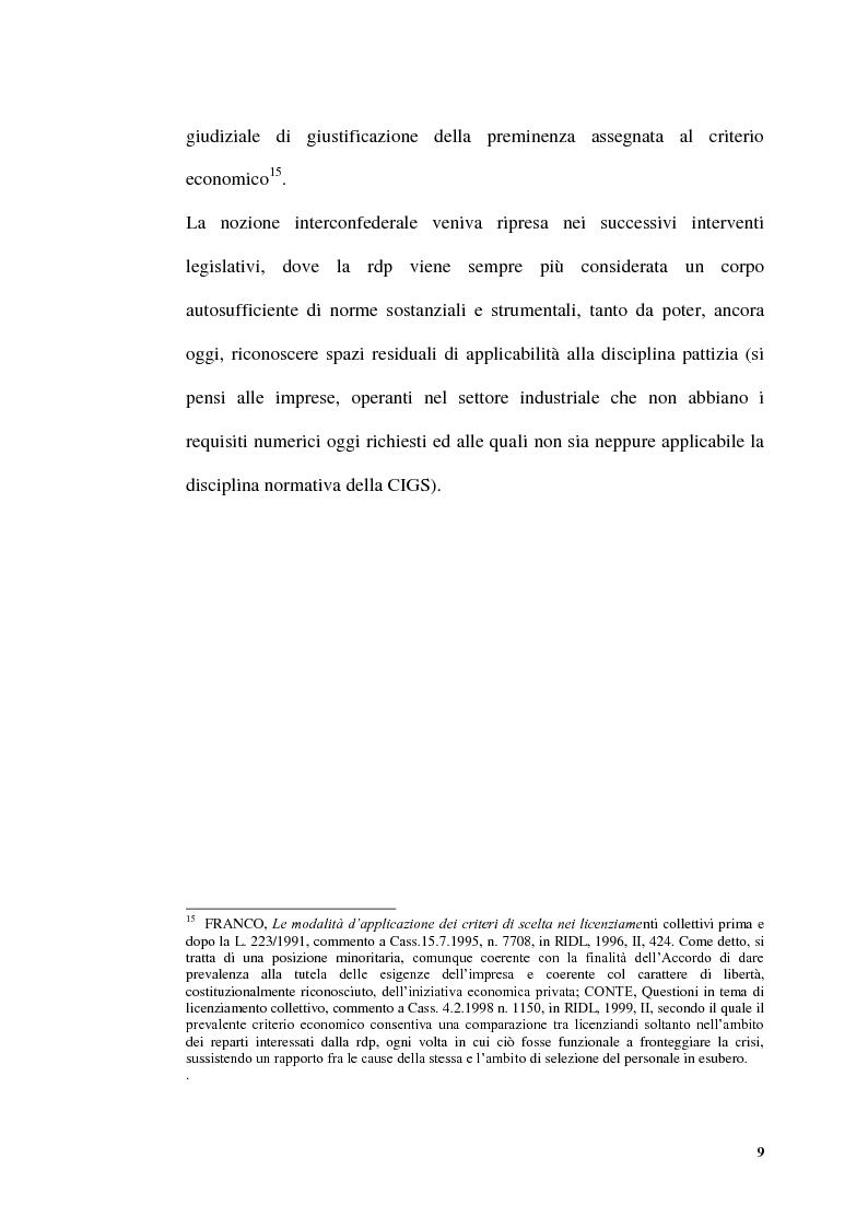 Anteprima della tesi: Licenziamenti collettivi per riduzione di personale, Pagina 7