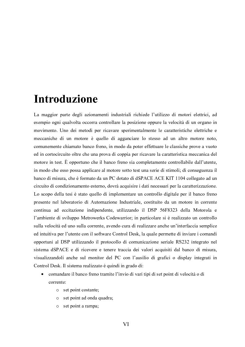 Anteprima della tesi: Controllo digitale di un banco freno per la caratterizzazione di motori elettrici, Pagina 1