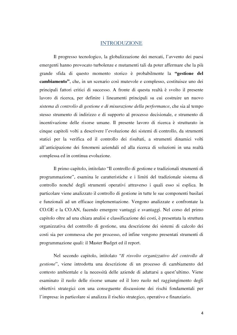 Anteprima della tesi: Il controllo di gestione e la misurazione della performance a supporto del cambiamento aziendale: dall'individuazione di problematiche alla ricerca di soluzioni, Pagina 1