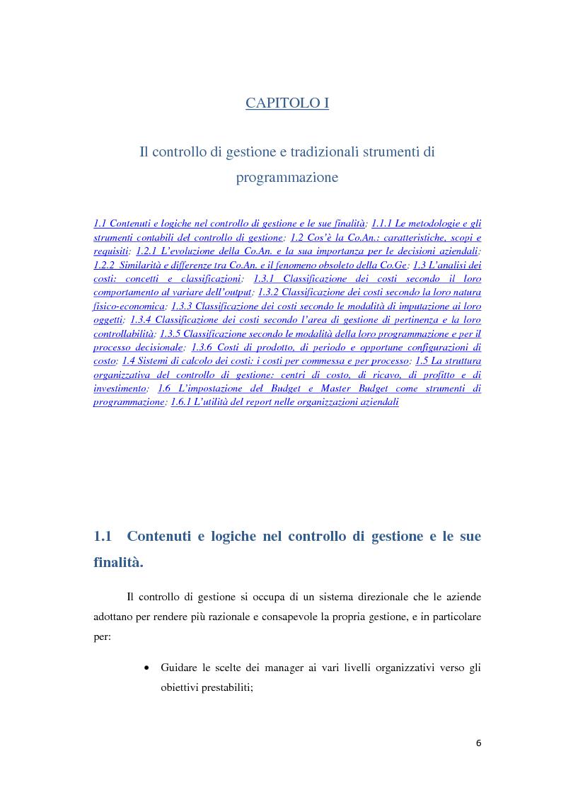 Anteprima della tesi: Il controllo di gestione e la misurazione della performance a supporto del cambiamento aziendale: dall'individuazione di problematiche alla ricerca di soluzioni, Pagina 3
