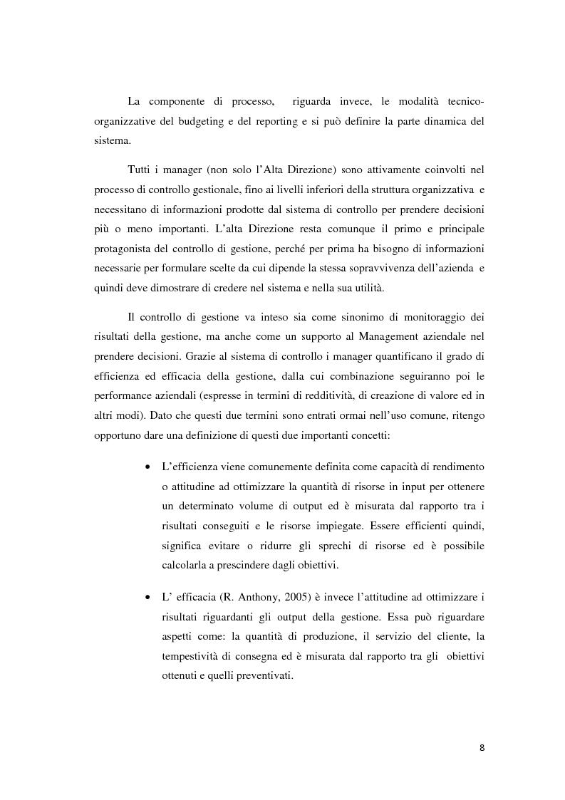 Anteprima della tesi: Il controllo di gestione e la misurazione della performance a supporto del cambiamento aziendale: dall'individuazione di problematiche alla ricerca di soluzioni, Pagina 5