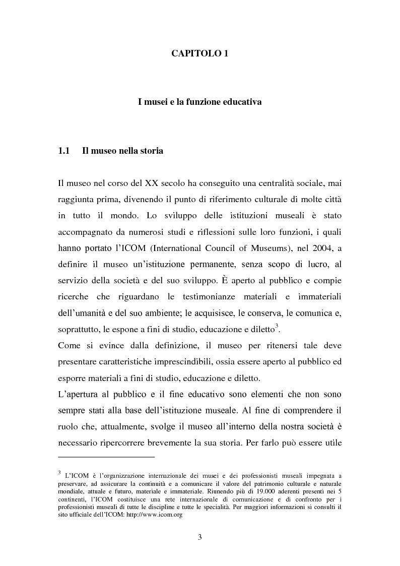Anteprima della tesi: Musei artistici e percorsi didattici. Analisi di alcune esperienze di didattica museale nel territorio di Modena., Pagina 1