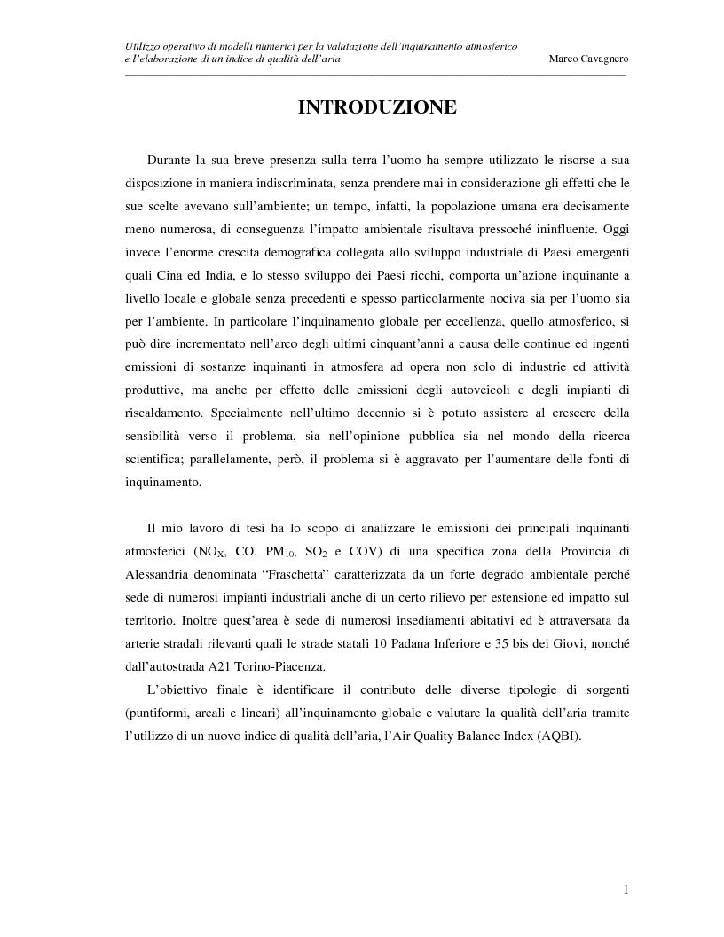 Anteprima della tesi: Utilizzo operativo di modelli numerici per la valutazione dell'inquinamento atmosferico e l'elaborazione di un indice di qualità dell'aria, Pagina 1