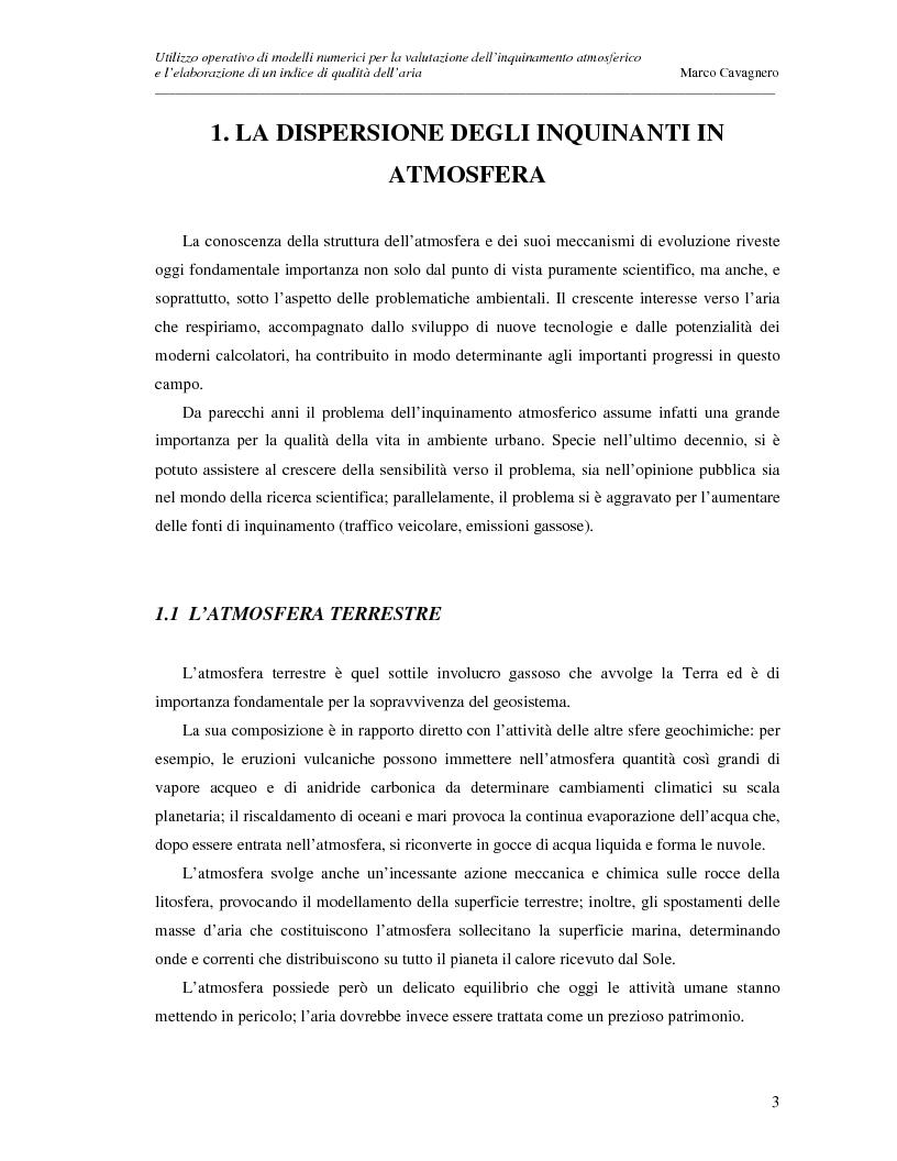 Anteprima della tesi: Utilizzo operativo di modelli numerici per la valutazione dell'inquinamento atmosferico e l'elaborazione di un indice di qualità dell'aria, Pagina 3
