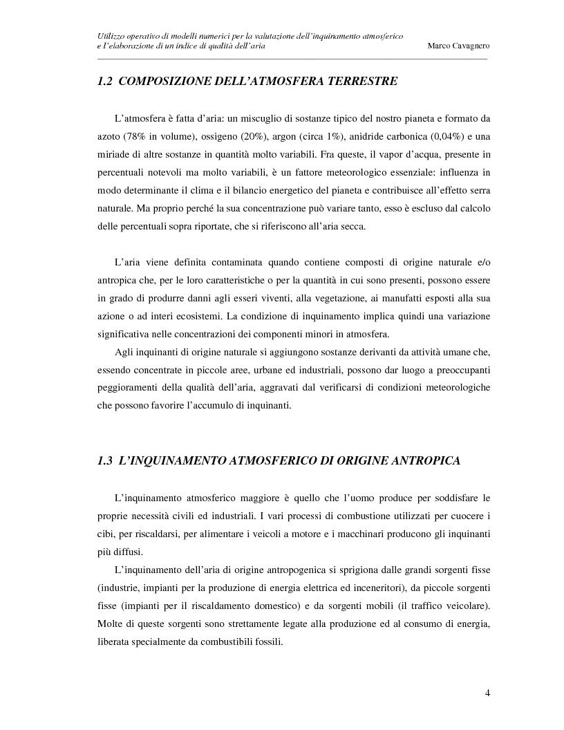 Anteprima della tesi: Utilizzo operativo di modelli numerici per la valutazione dell'inquinamento atmosferico e l'elaborazione di un indice di qualità dell'aria, Pagina 4