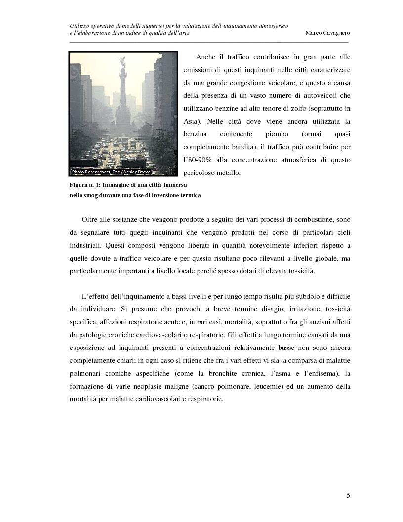 Anteprima della tesi: Utilizzo operativo di modelli numerici per la valutazione dell'inquinamento atmosferico e l'elaborazione di un indice di qualità dell'aria, Pagina 5
