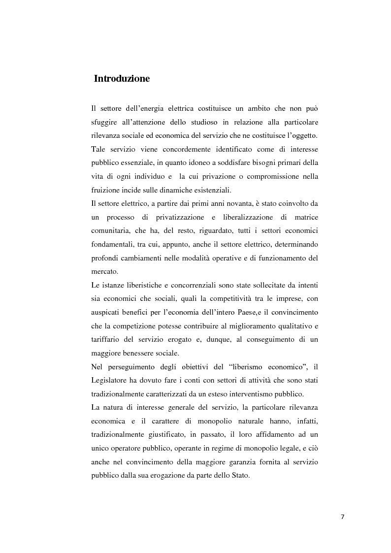 Anteprima della tesi: Il settore dell'energia elettrica tra obblighi di servizio pubblico e concorrenza, Pagina 1