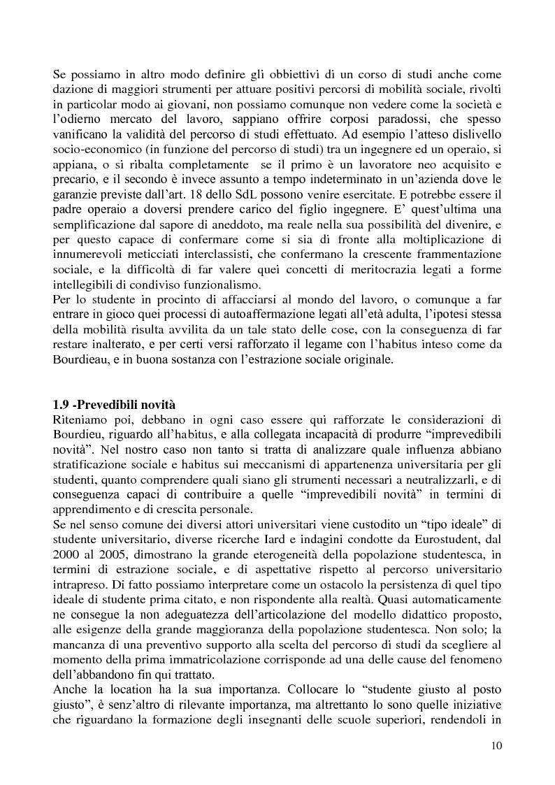 Estratto dalla tesi: L'abbandono universitario: una indagine su un campione di studenti di Scienze Politiche