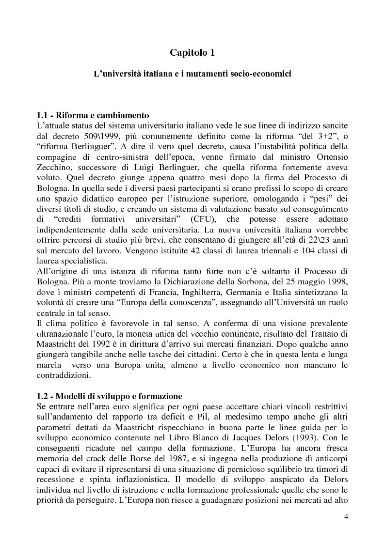 Anteprima della tesi: L'abbandono universitario: una indagine su un campione di studenti di Scienze Politiche, Pagina 1