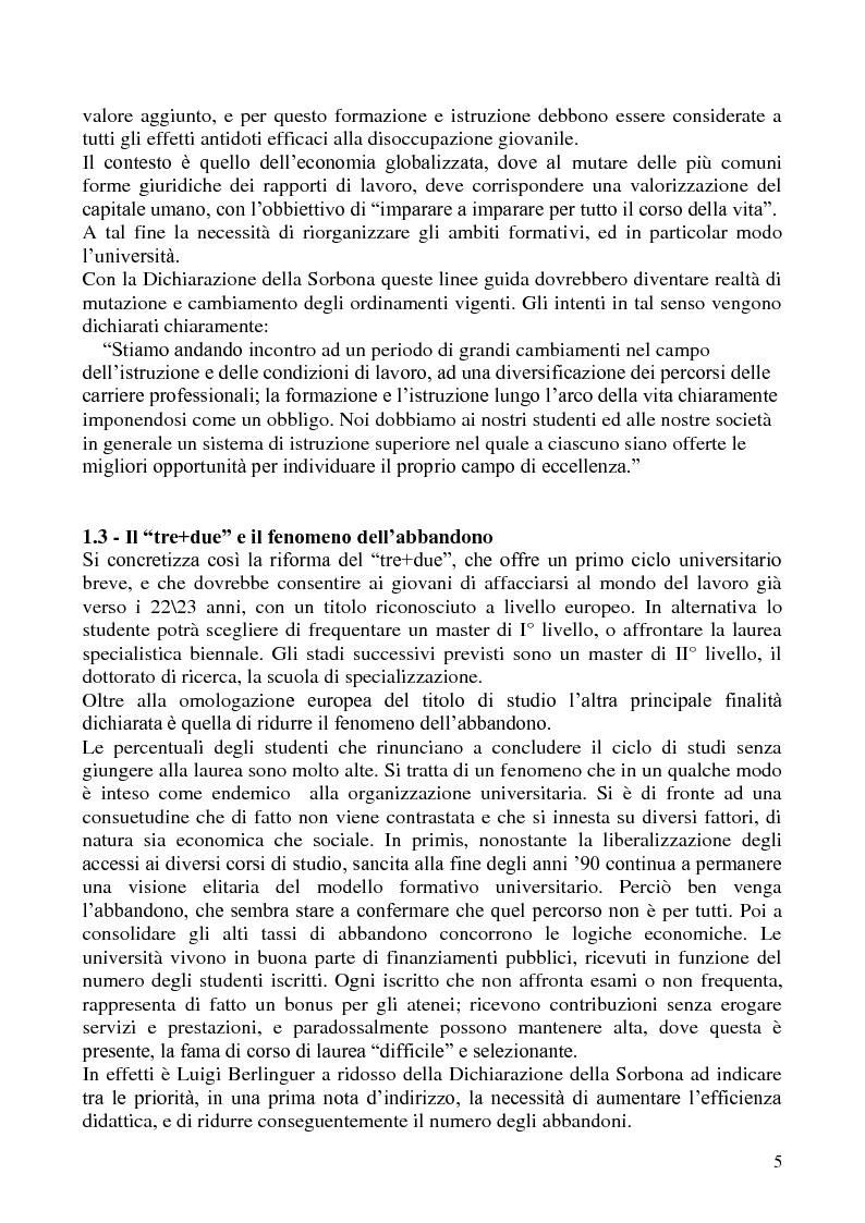 Anteprima della tesi: L'abbandono universitario: una indagine su un campione di studenti di Scienze Politiche, Pagina 2