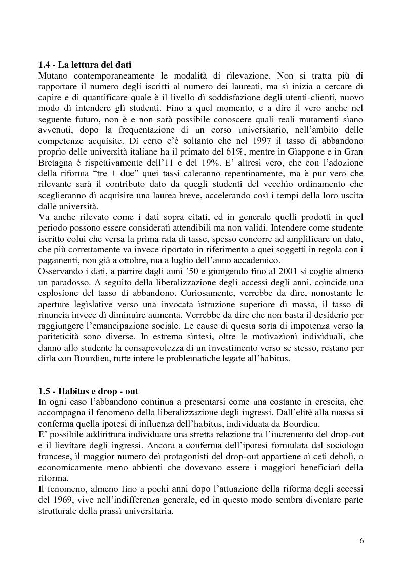 Anteprima della tesi: L'abbandono universitario: una indagine su un campione di studenti di Scienze Politiche, Pagina 3