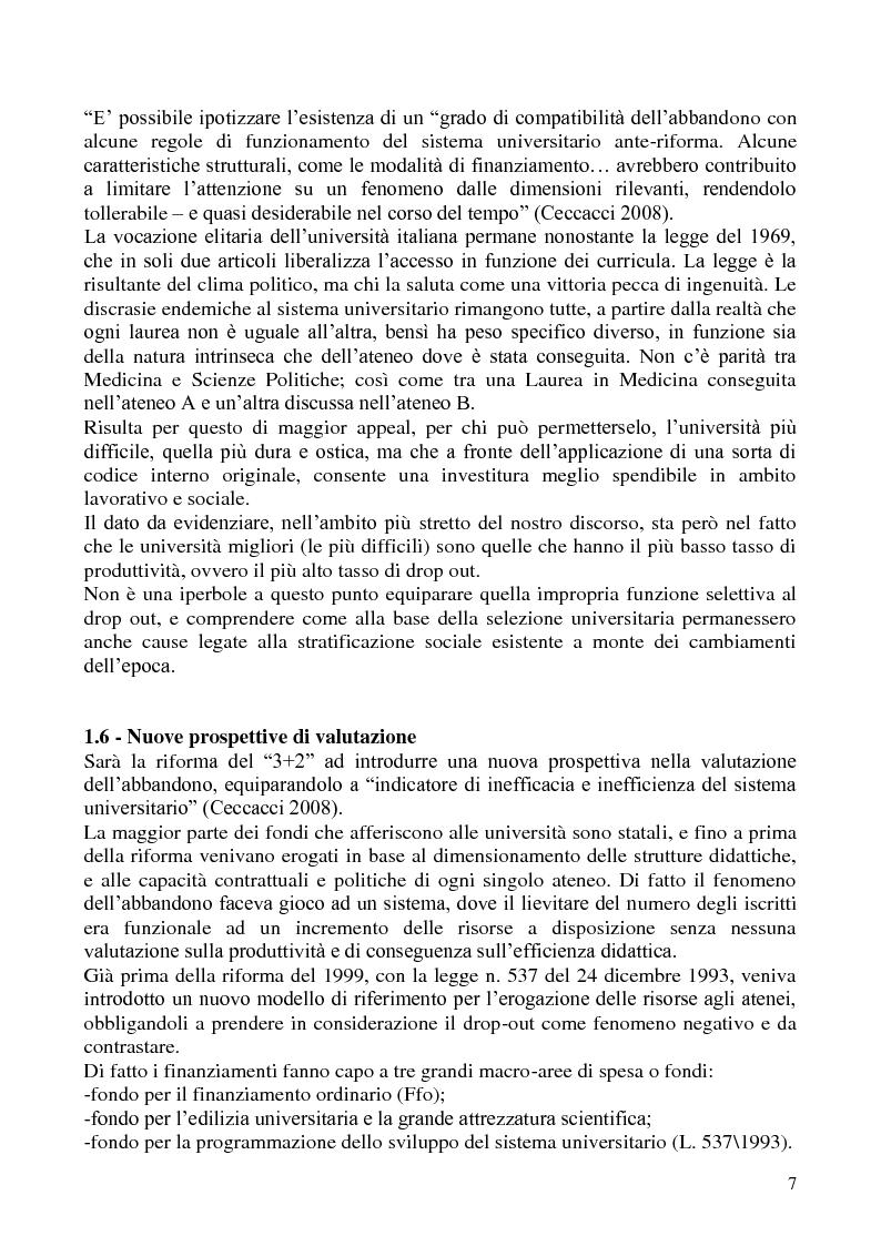 Anteprima della tesi: L'abbandono universitario: una indagine su un campione di studenti di Scienze Politiche, Pagina 4