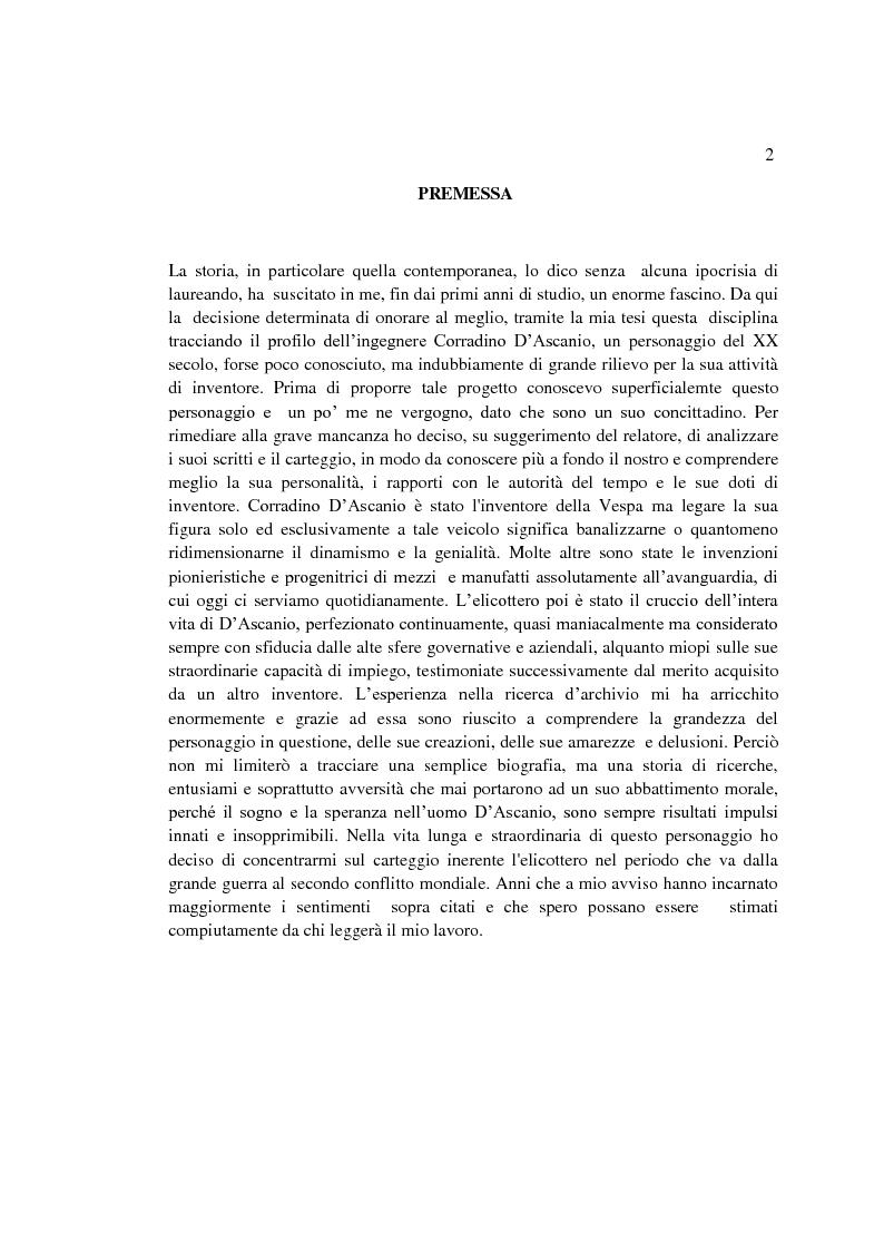 Anteprima della tesi: Il sogno di un inventore. Carteggio di Corradino D'Ascanio dal 1916 al 1943, Pagina 1