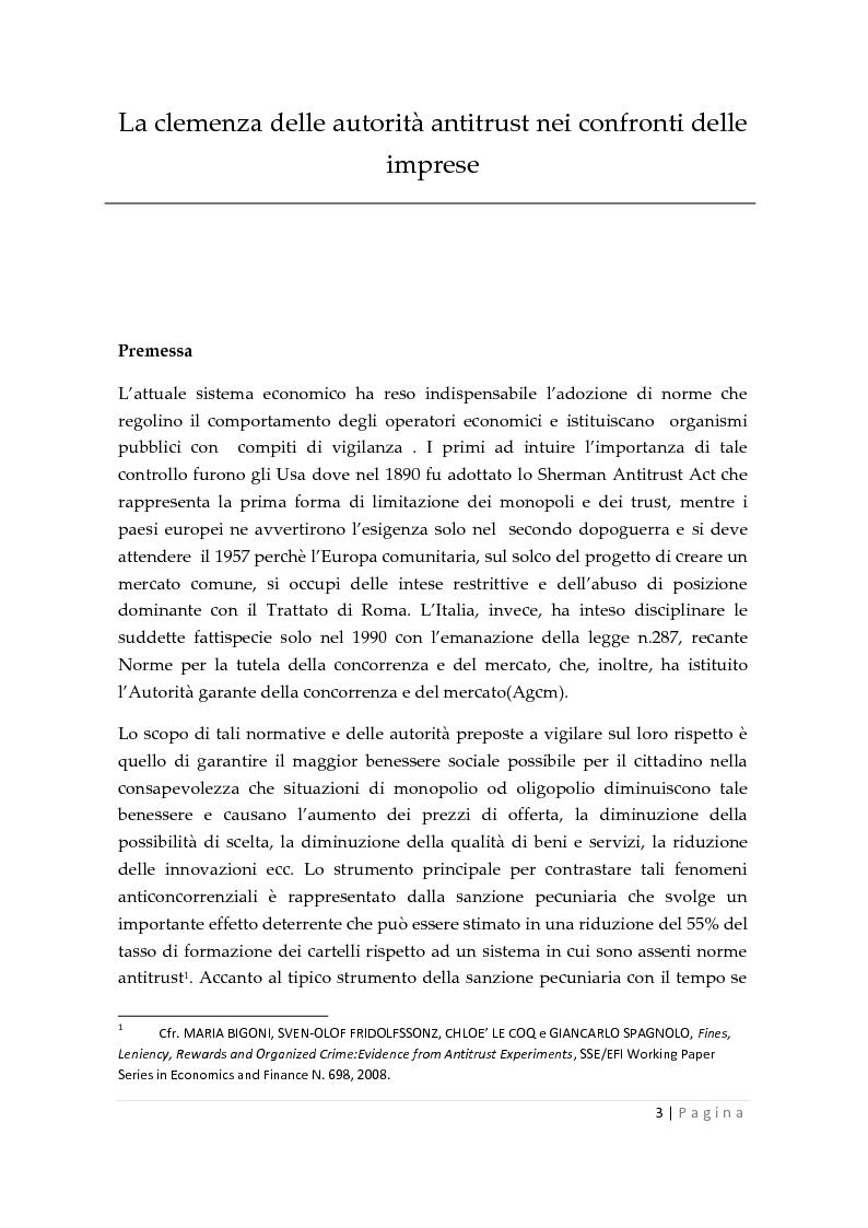 Anteprima della tesi: La clemenza dell'autorità antitrust nei confronti delle imprese, Pagina 1