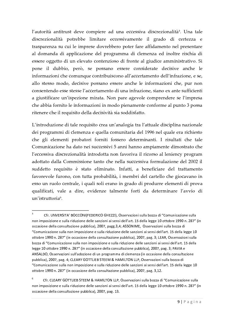 Anteprima della tesi: La clemenza dell'autorità antitrust nei confronti delle imprese, Pagina 7