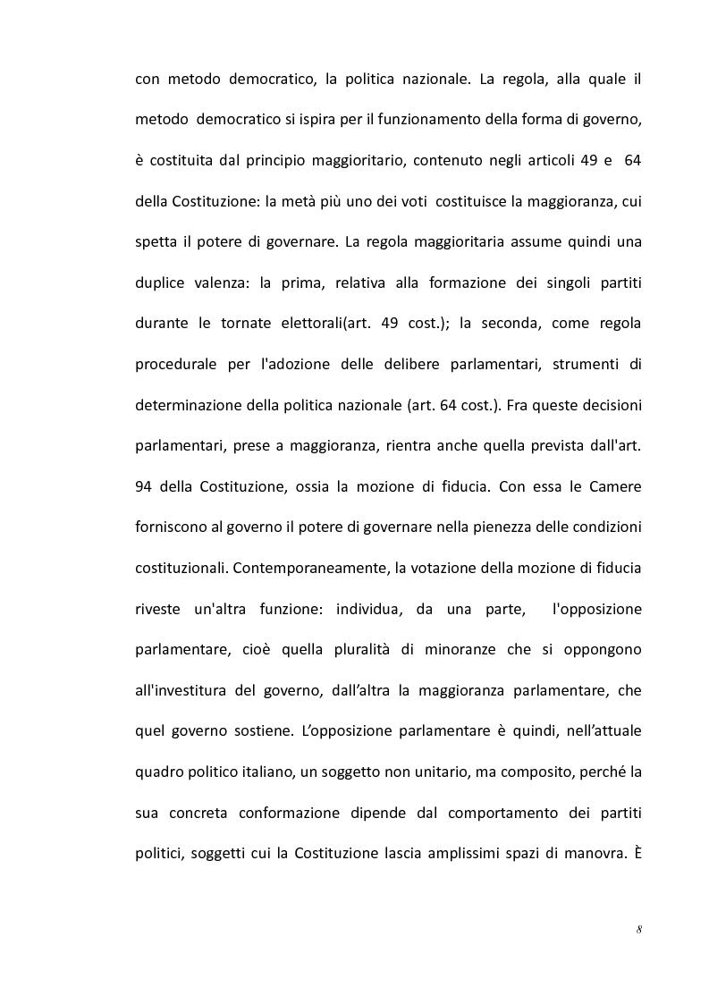 Anteprima della tesi: L'opposizione parlamentare nei Regolamenti delle Camere, Pagina 2