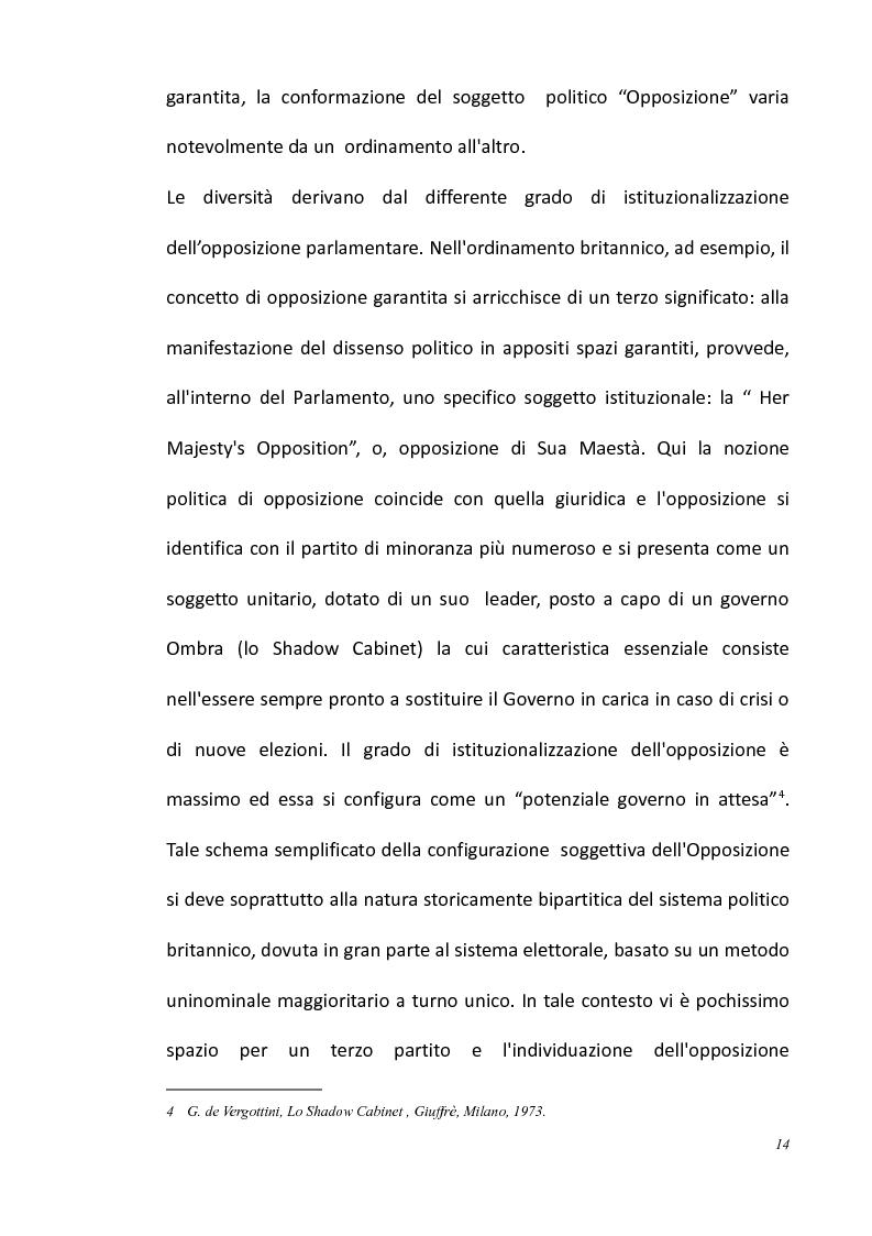 Anteprima della tesi: L'opposizione parlamentare nei Regolamenti delle Camere, Pagina 8