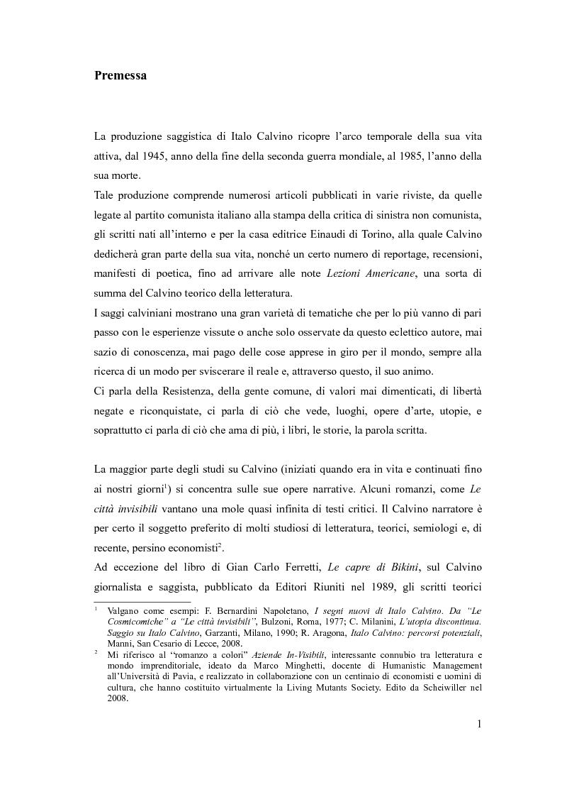 Anteprima della tesi: I sentieri di Italo Calvino, Pagina 1