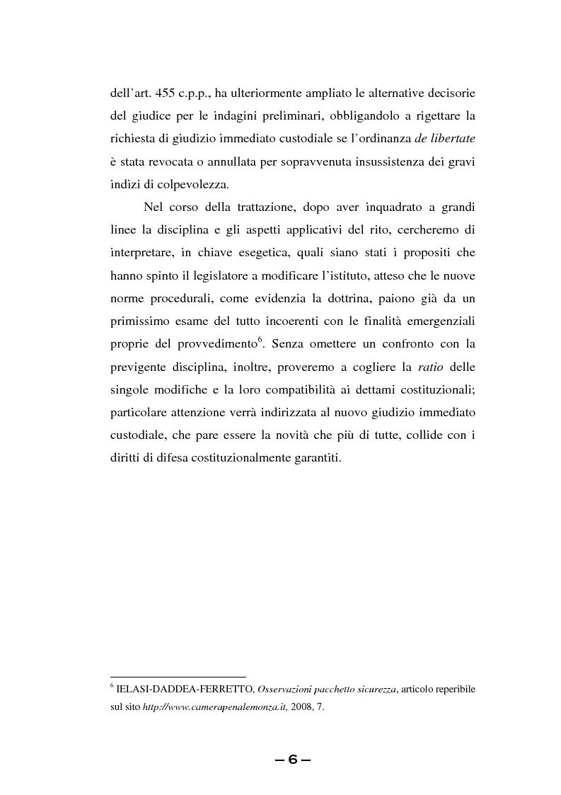 Anteprima della tesi: Il rito immediato alla luce della riforma del 2008. La poliedricità di un istituto, Pagina 3