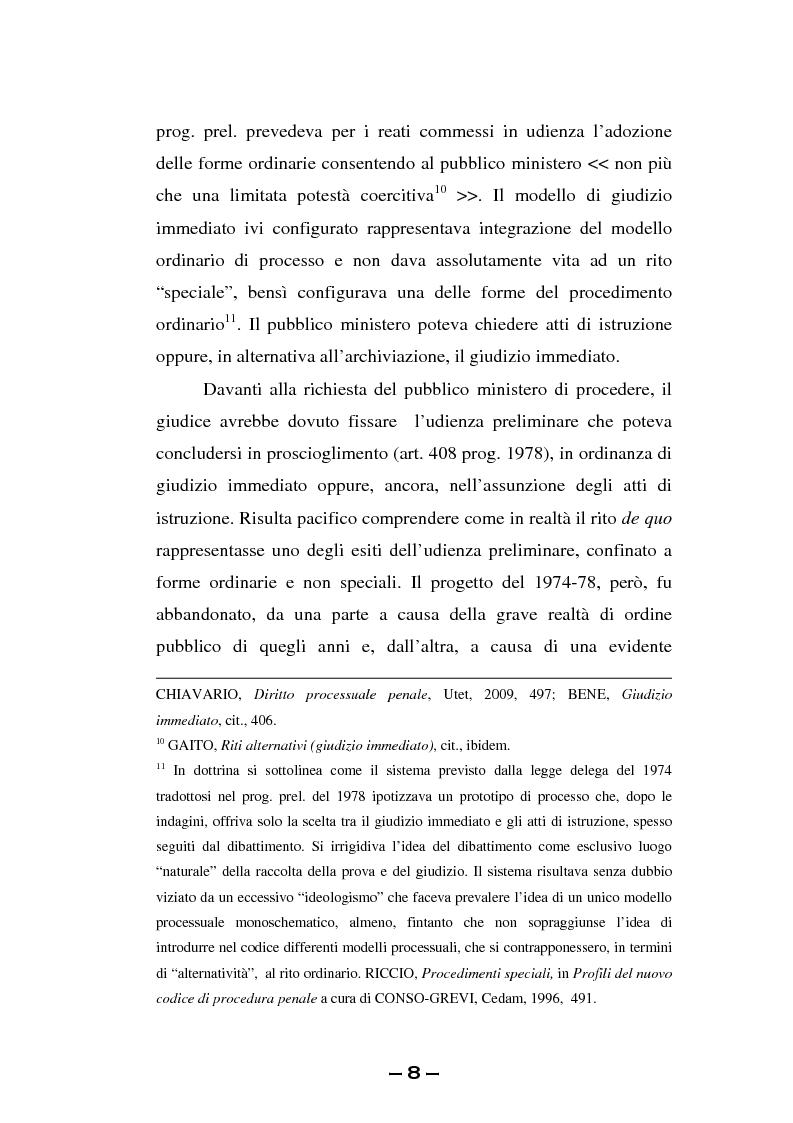 Anteprima della tesi: Il rito immediato alla luce della riforma del 2008. La poliedricità di un istituto, Pagina 5