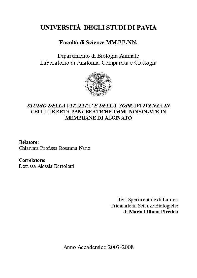 Anteprima della tesi: Studio della vitalità e della sopravvivenza cellulare in cellule beta pancreatiche immunoisolate in membrane di alginato, Pagina 1
