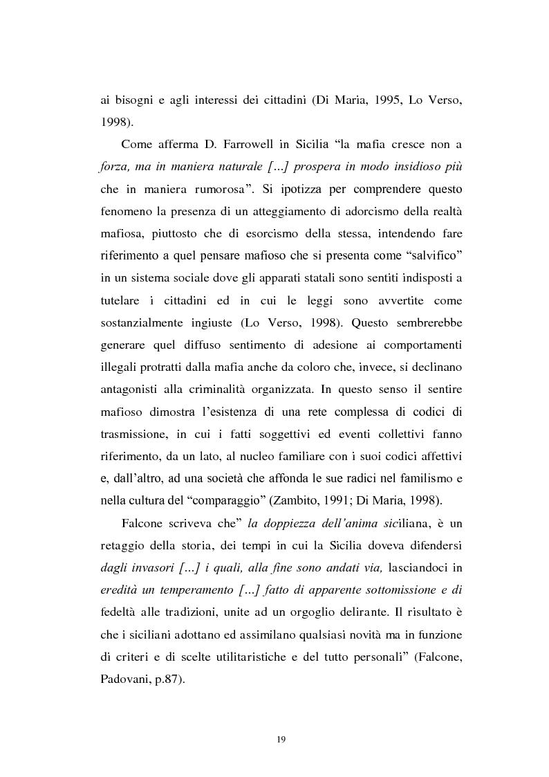Estratto dalla tesi: Il mondo a una dimensione della mafia fratture di un sistema monadico: un contributo di ricerca nell'area sud orientale della Sicilia