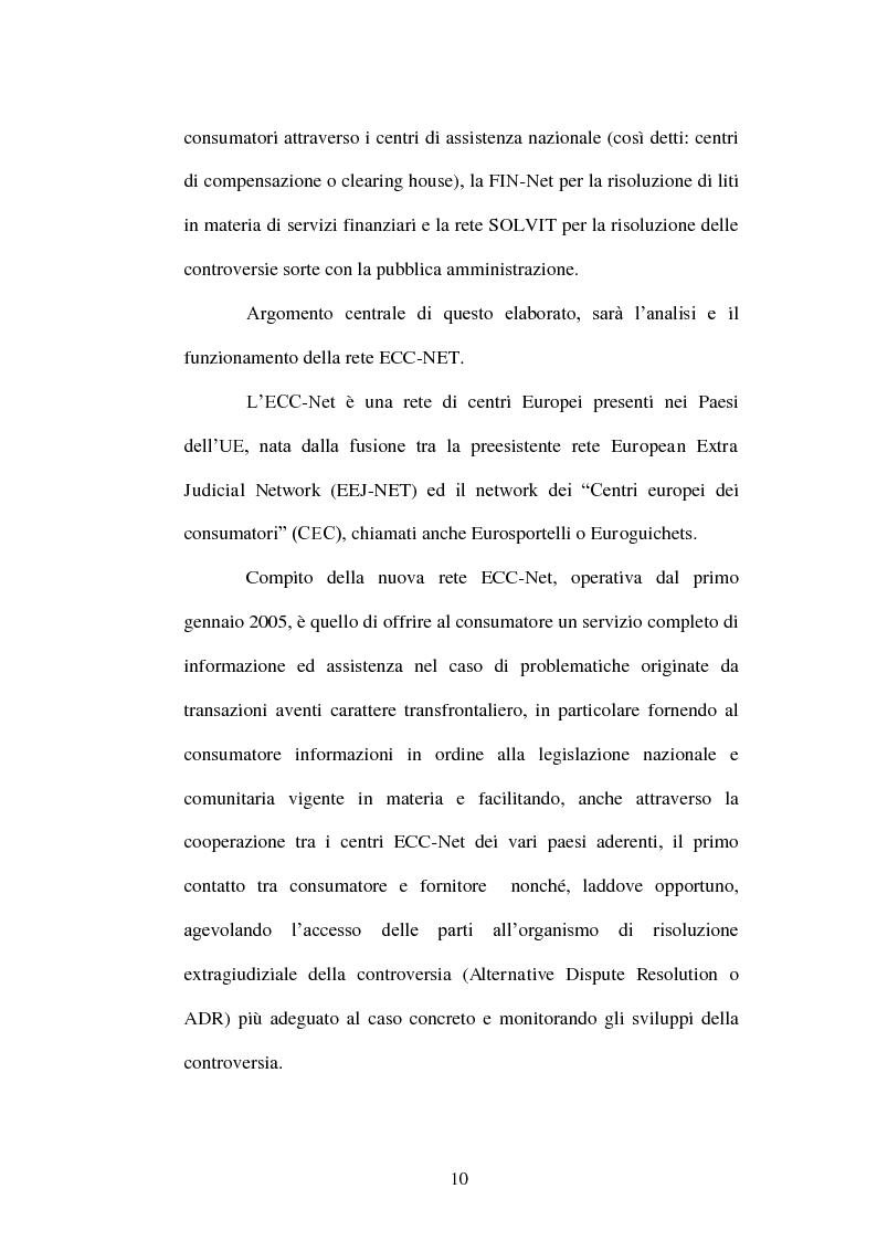 Anteprima della tesi: ECC-Net:un nuovo modello organizzativo per la risoluzione transfrontaliera dei conflitti, Pagina 5