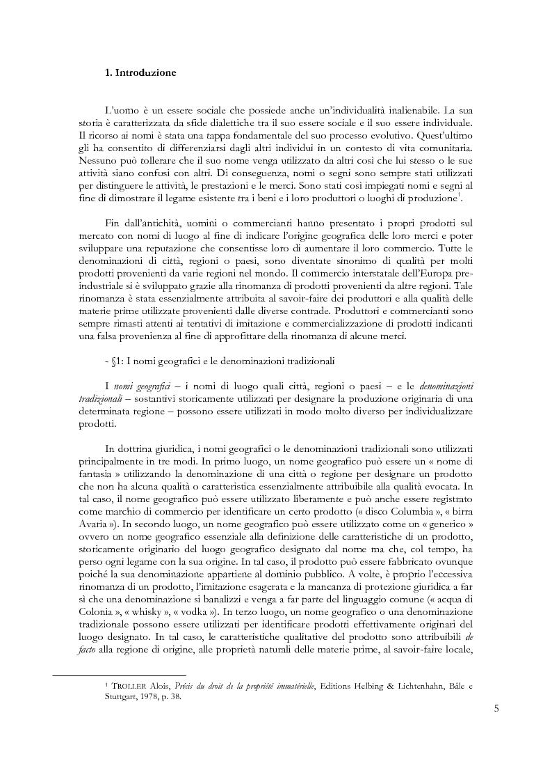 Anteprima della tesi: Denominazioni di origine e indicazioni geografiche: la protezione della proprietà intellettuale all'interno dell'Unione Europea e dell'Organizzazione Mondiale del Commercio, Pagina 1