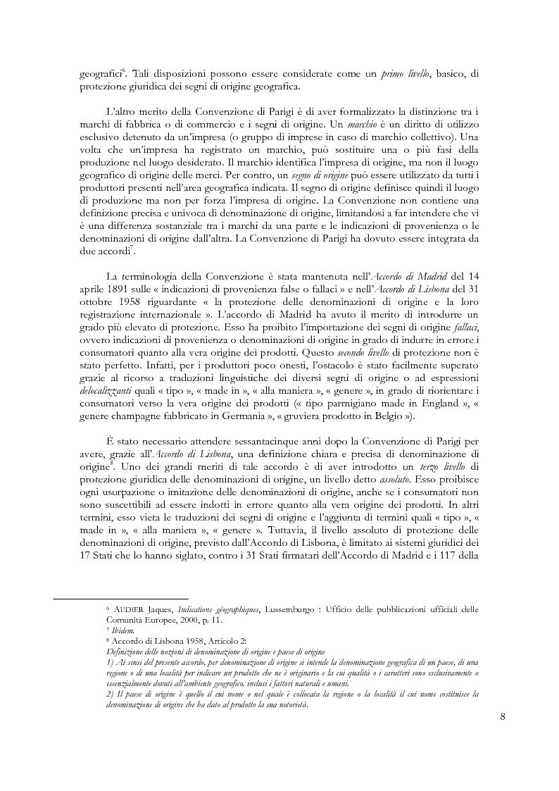 Anteprima della tesi: Denominazioni di origine e indicazioni geografiche: la protezione della proprietà intellettuale all'interno dell'Unione Europea e dell'Organizzazione Mondiale del Commercio, Pagina 4