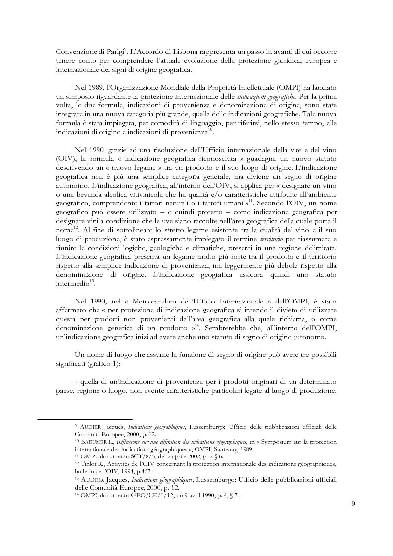 Anteprima della tesi: Denominazioni di origine e indicazioni geografiche: la protezione della proprietà intellettuale all'interno dell'Unione Europea e dell'Organizzazione Mondiale del Commercio, Pagina 5