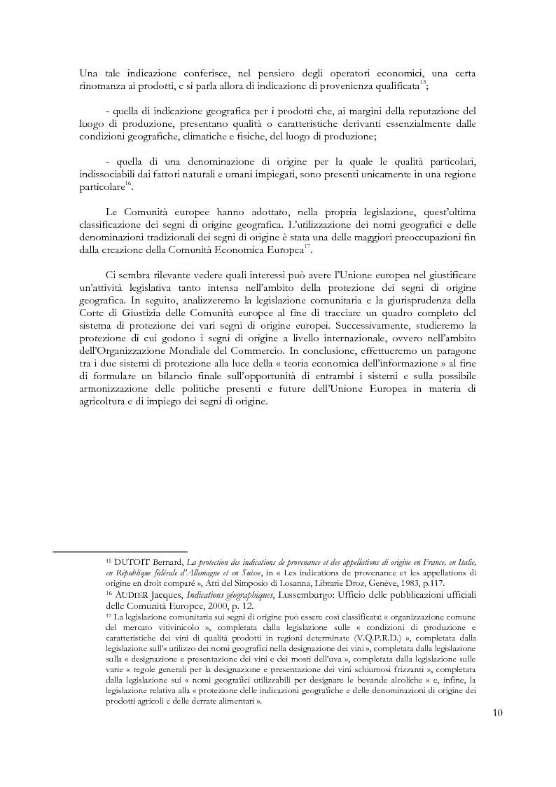 Anteprima della tesi: Denominazioni di origine e indicazioni geografiche: la protezione della proprietà intellettuale all'interno dell'Unione Europea e dell'Organizzazione Mondiale del Commercio, Pagina 6