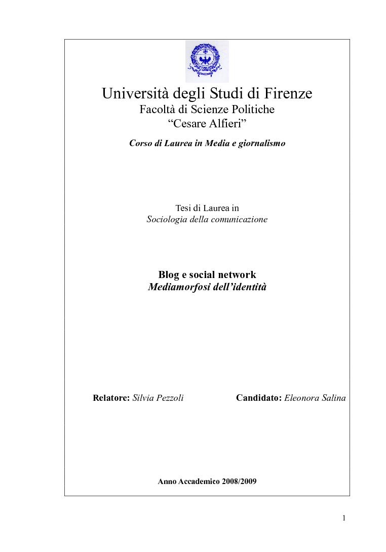 Anteprima della tesi: Blog e social network - Mediamorfosi dell'identità, Pagina 1