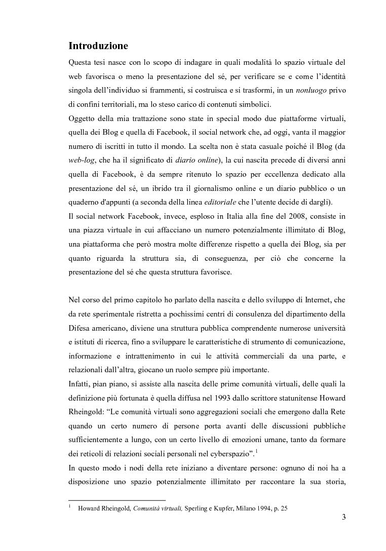 Anteprima della tesi: Blog e social network - Mediamorfosi dell'identità, Pagina 2
