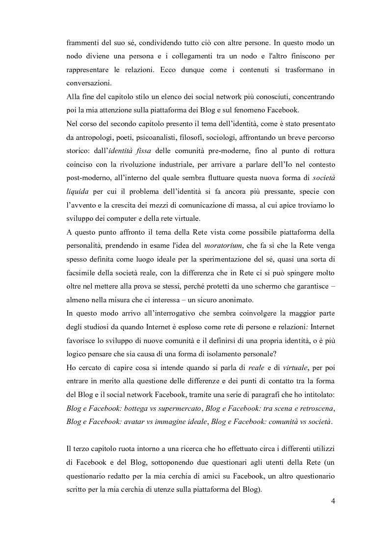 Anteprima della tesi: Blog e social network - Mediamorfosi dell'identità, Pagina 3
